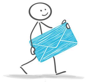 Strichmännchen mit einem Brief in der Hand