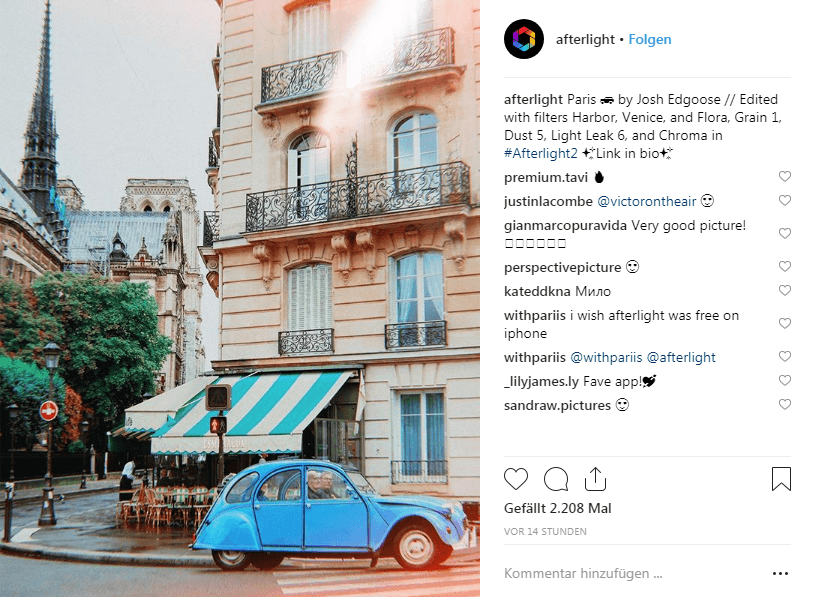 Screenshot 1: Instagram/ @afterlight